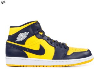 "Air Jordan 1 Mid ""Michigan"" Marine Jaune (554724-707)"
