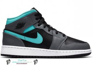 Air Jordan 1 Mid (Gs) Gris Aqua (554725-063)